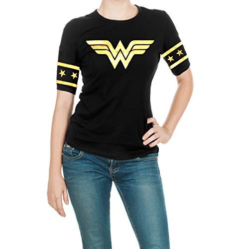 Wonder Woman Gold Foil Superhero Shirt - Adult Black Gold Logo T Shirt for Women by Miracle (L)