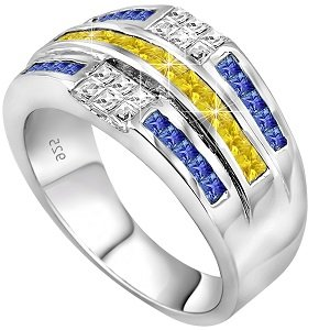 Cubic Zirconium Stone (Men's Sterling Silver .925 Ring Featuring 32 Yellow, White, and Blue Baguette and Square Cubic Zirconia (CZ) Stones, Platinum Plated Jewelry (13))