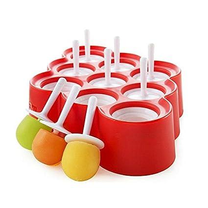 Tailcas 9 pcs Mini moldes para helados tipo polo moldes de silicona color Ice Pop Máquina