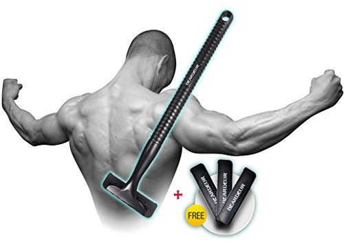 Men's Back Hair Shaver _ Personal Body Grooming _ Remove Unwanted Hair Easily_ New, Safe & Durable Design, Perfect For Dry & Wet Use, BONUS 3 FREE Blade Razor Refills