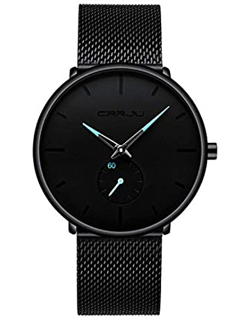 e3d066783 Mens Watches Black Ultra Thin Watch Minimalist Fashion Luxury Wrist Watches  for Men Business Dress Casual