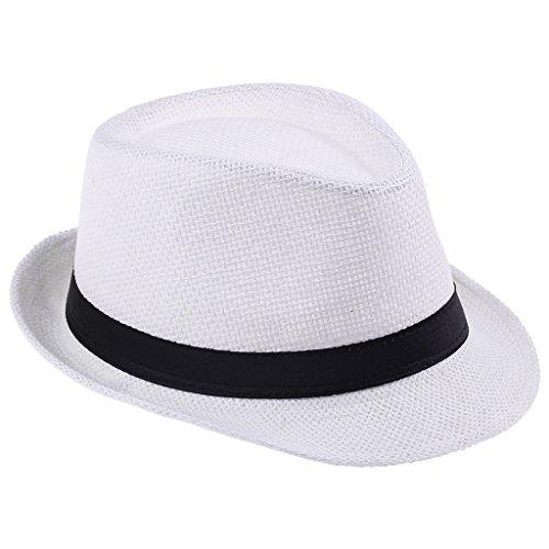 Smile YKK(TM) Solid Band Summer Straw Fedora Hat Sun Men Golf Visor White