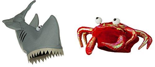 Man Eater Shark Hat (Gray Shark Red Crab Lobster Hat Plush Man Eater Jaws Ocean Costume Fish Set)