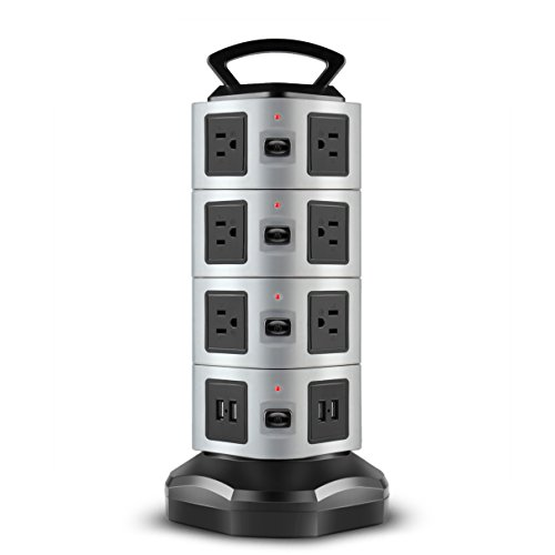 TNP Power Strip with USB Surge Protector - Charger Station Power Supply Adapter Multi Socket Plug Powerstrip Bar Stand Tower, 6FT Extension Cord (14 AC Outlet + 4 USB Port, - Grey Usb 14