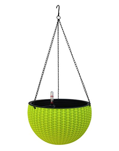 TABOR TOOLS SelfWatering Hanging Planter for Indoor and Outdoor Elegant WickerDesign 10quotø Round Plastic Basket for Flowers and Plants Includes Chain and Water Level Indicator Gauge TB704A Green