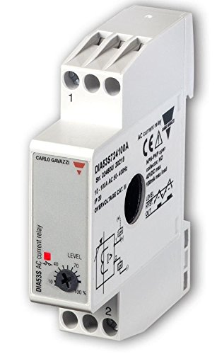 CARLO GAVAZZI DIA53S72420A Mini Current Monitor, Slim 17.5mm width, Adjustable 2-20 amp AC Set Point, 12 mm Through Hole, 100 mA Transistor Output, Diagnostic LED, 2.8 oz. Size, 24 mm Height x 99 mm Width x 73 mm Diameter