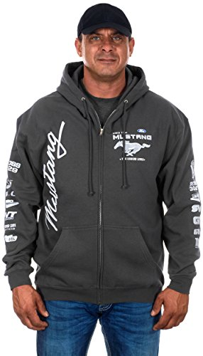Men's Ford Mustang Collage Zip Up Hoodie in Charcoal (2X, CLG2-charcaol ()