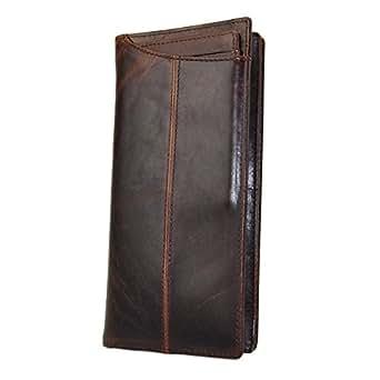 Le'aokuu Mens Genuine Leather Bifold Wallet Organizer Checkbook Card Case (Brown 2)