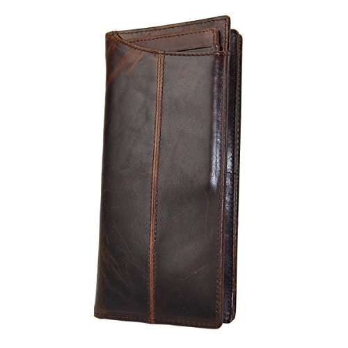 Le'aokuu Mens Genuine Leather Bifold Wallet Organizer Checkbook Card Case (Brown 2)