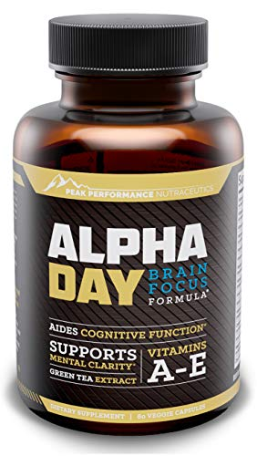 Cheap Peak Performance | Alpha Day Brain Supplement & Focus Supplement Vitamin | Nootropic Energy Pills | Aids Cognitive Function, Memory, Clarity & Concentration | Bacopa, DMAE & Huperzine A | 60 Capsules