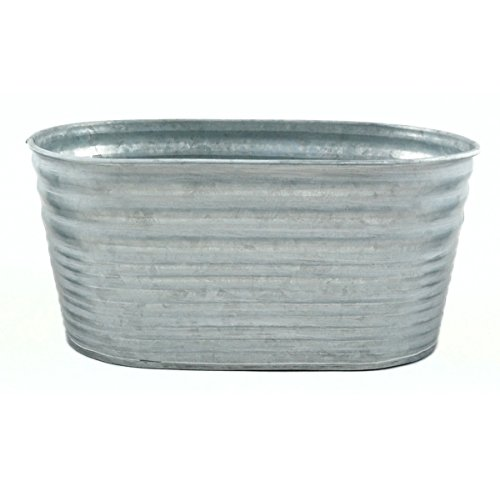 9'' Silver Color Galvanized Oblong Tin Container by The Costume Center