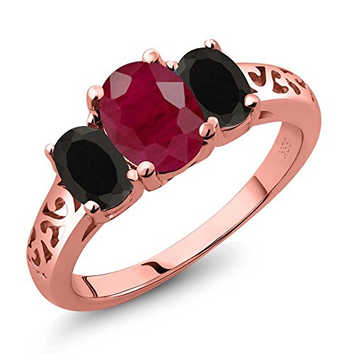 2.38 Ct Oval Red Ruby Black Onyx 18K Rose Gold Plated Silver 3 Stone Ring (Ruby Trellis Ring)