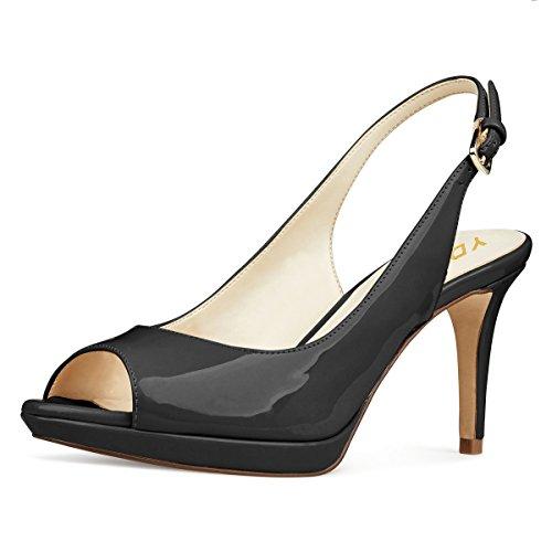 - YDN Women Formal Peep Toe Platform Pumps Mid Heels Slingback Office Shoes with Buckle Black 8