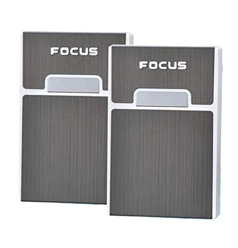 Focus Cigarette Case Plastic & Aluminum Hold 20 pcs Cigarettes Injector Box Magnetic Cover Design for Men & Women 2 Packs
