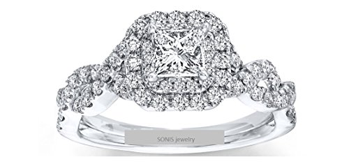 1.52 Ct Round Diamond (Vera Wang 1.52ct Love Collection Princess Round Simulated Diamond Blue Sapphire 925 Sterling Silver Wedding Engagement Ring,All US size 4 to 12 available)