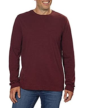 Calvin Klein Men's Slub Knit Crew Neck Long Sleeve Pullover Shirt