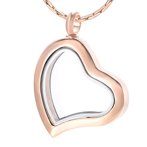 constantlife Cremation Jewelry for Ashes Heart Shape Urn Necklace Stainless Steel Transparent Glass Pendant Keepsake Memorial Ashes Holder for Women (Rose Gold) ()
