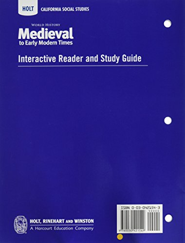 World History Medieval To Early Modern Times Interactive Reader And Study Guide Holt California Social Studies