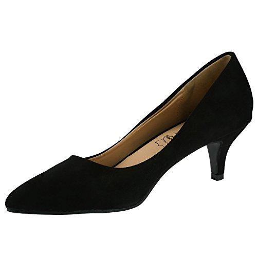 ByPublicDemand Miranda Womens Low Kitten Heel Slip On Pointed Toe Court Shoes Black Faux Suede OZoaOU19jr
