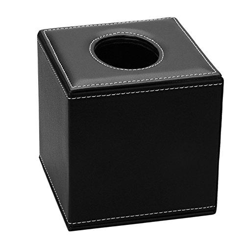 PU Leather Roll Tissue Box Holder Facial Tissue Box Cover Cover Decorative kleenex tissue box Square Case wooden (Black)