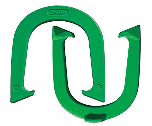 Light Weight Cadet Pitching Horseshoes - Green Finish - NHPA Sanctioned for Tournament Play - Drop Forged Steel - One Pair (2 Shoes) Pitching Horseshoe