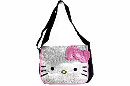 Image Unavailable. Image not available for. Color  Sanrio Hello Kitty White  and Pink Glitter Messenger Bag- tote e210c554446c5