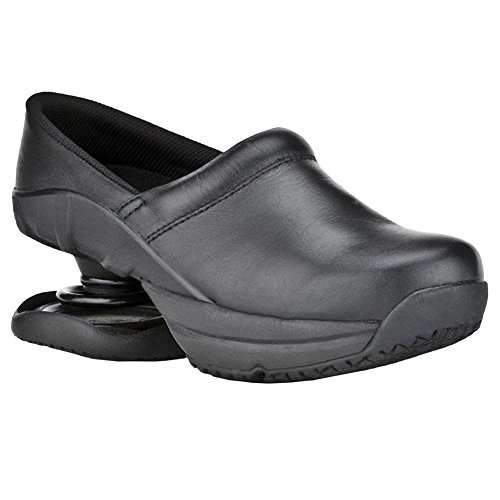 Z-CoiL Women's Toffler Slip Resistant Black Leather Clog Sandal 9 C/D US