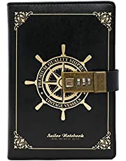 Leather Journal with Combination Lock, Vintage Lock Agenda Personal Planner Organizers, Diary Book for Men, Women, Girl, Boy (Black 2)