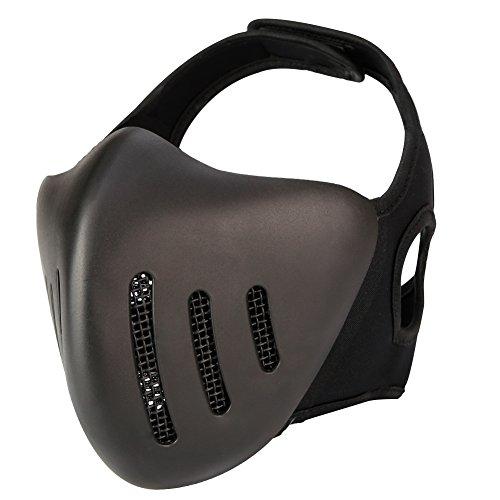 Aoutacc Knight Airsoft Masks,Half Face Masks Mesh Metal Hard Plastic,Masquerade Ball, Party Halloween Cos Mask,Cs War Game,BB Gun (Black) - Hard Plastic Mask
