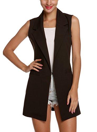 OURS+Women%27s+Solid+Lapel+Sleeveless+Slim+Waistcoat+Long+Suit+Vest+%28L%2C+Black%29