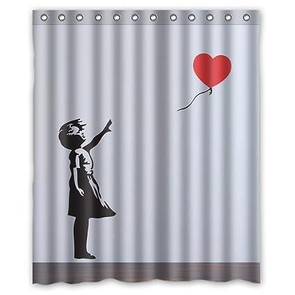 Amazon Banksy Balloon Girl Design Of Waterproof Bathroom Fabric