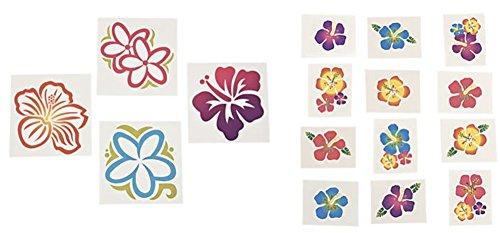 Large Luau Flower and Hibiscus Glitter Tattoos Set (84 (Hibiscus Flower Tattoos)