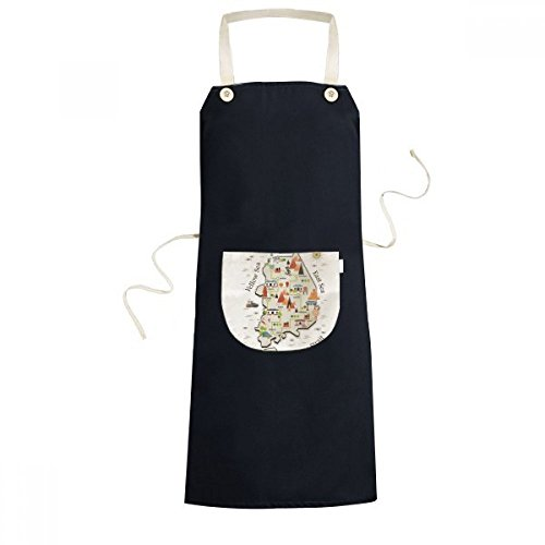 DIYthinker South Korea Landmarks Travel Map Cooking Kitchen Black Bib Aprons With Pocket for Women Men Chef Gifts by DIYthinker (Image #4)
