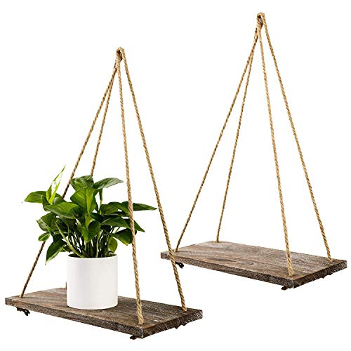 TIMEYARD Decorative Wall Hanging Shelf - Distressed Wood Jute Rope Floating Shelves - Rustic Home Decor - Set of 2 by TIMEYARD