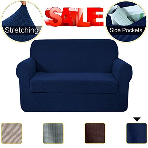 SimpleHome 2-Piece Stretch Chair Slipcovers Loveseat Sofa Covers with Pockets, Textured Lycra High Spandex Small Checks Knitted Jacquard Couch Cover Chair Covers for Living Room (Loveseat, Navy)