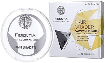 Fidentia Maquillaje Capilar | Corrector de Pelo | Retoca las raíces, canas y la pérdida de cabello al instante | 12g Marrón Oscuro