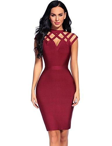 Madam Uniq iFashion Womens Sleeveless High Neck Hollow Out Bandage Cocktail Mini Dress (M, Wine Red)