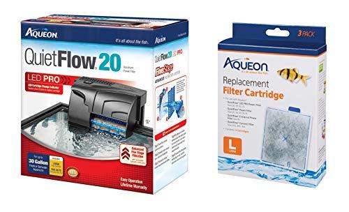 Aqueon QuietFlow 20 Power Filter 125GPH, Plus 3-Replacement Filter ()
