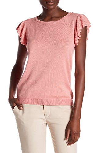 Joseph A Flutter Sleeve Pullover Knit Top Lightweight Sweater (XL, Peach Melba)