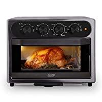 DASH DAFT2350GBGT01 Chef Series 7 in 1 Convection Toaster Oven Cooker, Rotisserie + Electric Air Fryer with Non-stick Fry Basket, Baking Pan & Rack, Skewers, Drip Tray & Recipe Book, 23L, Graphite