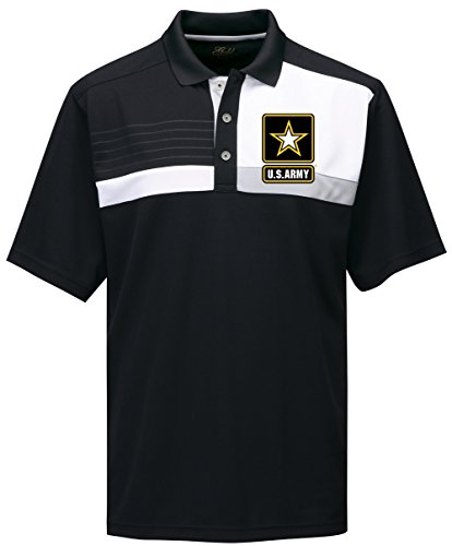 (Mens US Army Marquis Polo Shirt (Pocket Print), Medium Black/Black/White/Grey)