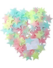 100 pcs Luminous Plastic Wall Stickers Stars Glow In The Dark Fluorescent
