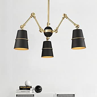 SUHANG Wandlampe Beleuchtung Teleskop Bügeleisen Restaurant Light Art Wohnzimmer  Lampen, Kopf Schwarz Gold