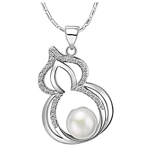 Epinki, colgante de la joyería del collar 18 K blanco chapado en oro de la perla de las mujeres calabaza ambiental de la cadena