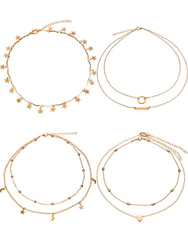 Heart Star Pendant - BBTO 4 Pieces Layered Pendant Choker Necklace Gold Layering Chain Choker for Women Girls (Style A)