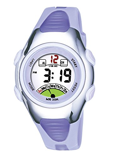 Outdoors Sports Digital Womens Watches Multi Functions Led Water Resistant Wirst Watch for Women Silver/Purple