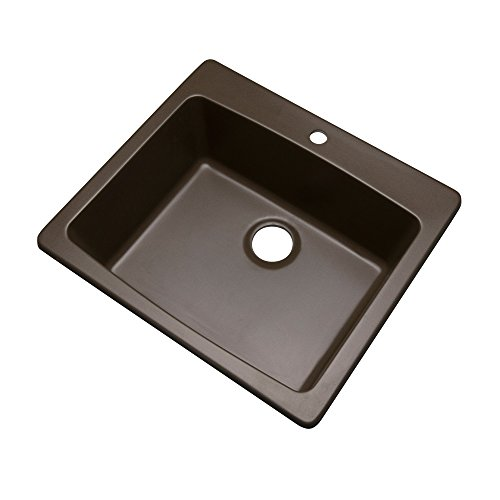 Dekor Sinks 40192Q Bridgewood Composite Granite Single Bowl Sink with One Hole, 25