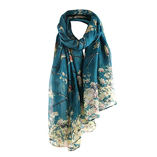 URIBAKE ❤ Women's Long Shawl Warm Wrap Shawl Floral Bird Printed Elegant Scarf Autumn (Blue)