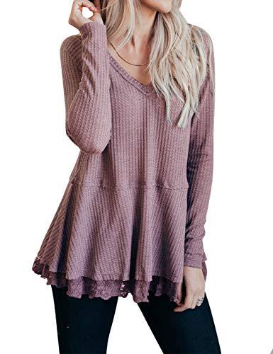 MEROKEETY Women's Long Sleeve V Neck Waffle Knit Lace Trim Flowy Tunic Tops ()
