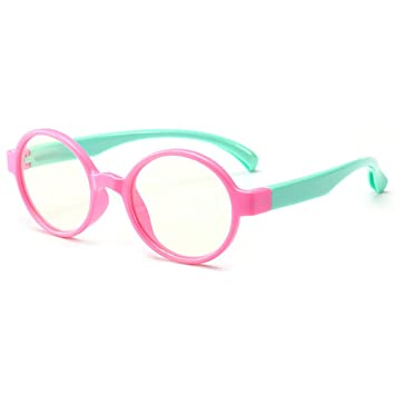 c3b70d821a9e Round Anti Reflective Computer Glasses Block Blue Light and Harmfull UV  with Clear Lens for Kids
